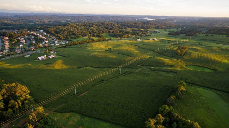 Power Lines cross Fields