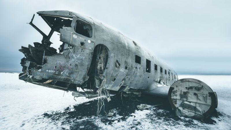 Aircraft fuselage rots in Iceland tundra