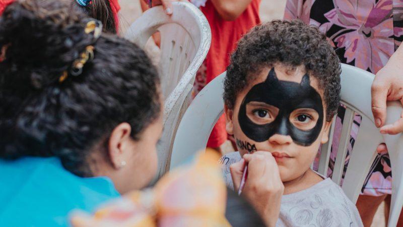 Child with Batman Face Paint